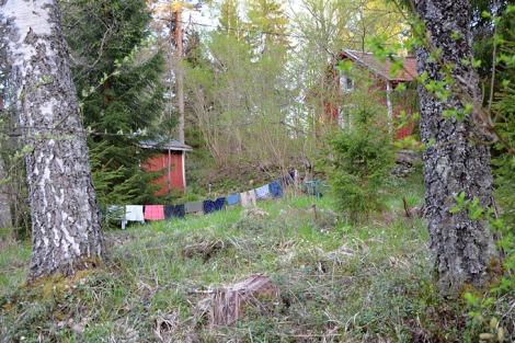 Tvätt som hänger på tork ute i naturen